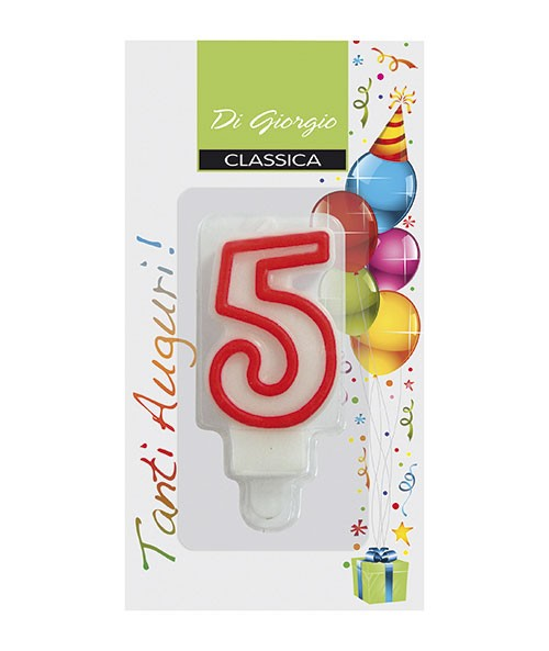 Number 5 birthday candle with support