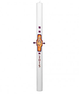 Paschal candle with wax decorations Ø 8 cm h. 120 cm