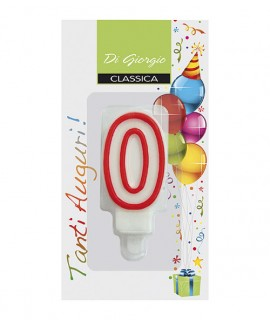 Number 0 birthday candle with support