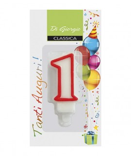 Number 1 birthday candle with support