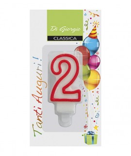 Number 2 birthday candle with support