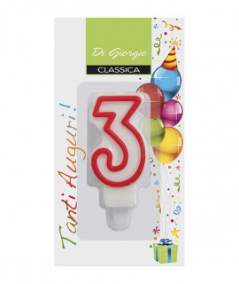 Number 3 birthday candle with support ì