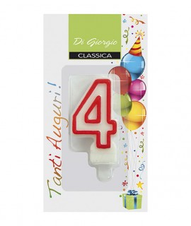 Number 4 birthday candle with support