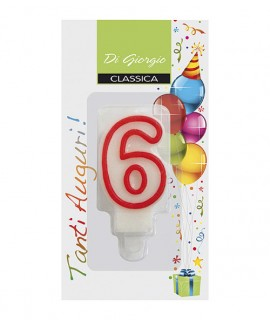 Number 6 birthday candle with support