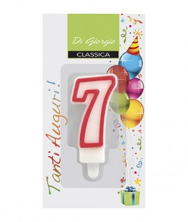 Number 7 birthday candle with support