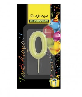 Number 0 fluo birthday candle with support