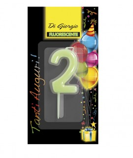 Number 2 fluo birthday candle with support