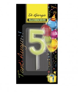 Number 5 fluo birthday candle with support