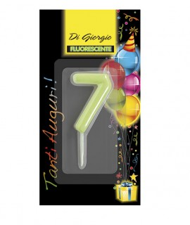 Number 7 fluo birthday candle with support