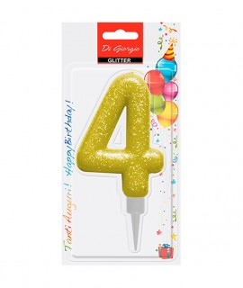 Giant glitter number 4 birtday candle - Yellow