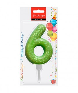 Giant glitter number 6 birtday candle - Green