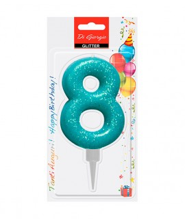 Giant glitter number 8 birtday candle - Light blue