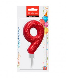 Giant glitter number 9 birtday candle - Red