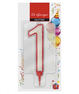 Giant red outline glitter number 1 birtday candle with support