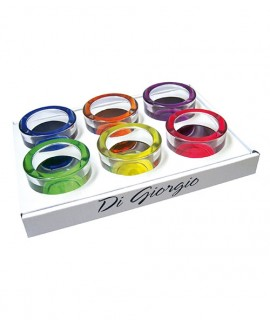 Set of 6 colored glass tealight holders
