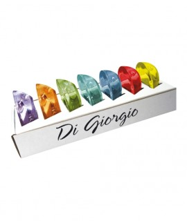 Set of 7 colored glass tealight holder